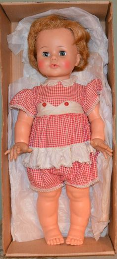 """Vtg 23"""" Original KISSY 1961 Baby Doll IDEAL Box WORKS Kisses Blonde Red Outfit  #Ideal"""