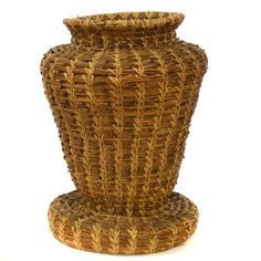 Basket vases are among those items that can both serve multiple purposes, and still be a great decoration by themselves. And this hand-woven pine needle basket vase represents this perfectly with its great shape and beautiful design. #bohemian #decor #baskets&weavings #sandiegovintage #vintagefurniture