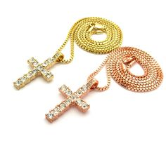ICED OUT CROSS DOUBLE PENDANT & BOX CHAINS NECKLACES SET