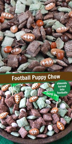 The ultimate football puppy chow! Cheer on your favorite team with this game day or super bowl snack recipe! The ultimate football puppy chow! Cheer on your favorite team with this game day or super bowl snack recipe! Game Day Snacks, Snacks Für Party, Game Day Food, Appetizers For Party, Snacks Kids, Appetizer Recipes, Party Trays, Parties Food, Appetizer Ideas