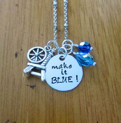 """Disney's Sleeping Beauty Inspired Necklace. Fairy Merryweather. """"Make it BLUE!"""" Silver colored, Swarovski crystals. by WithLoveFromOC, $21.00. Also available in """"Make it PINK!"""". #Fairy"""