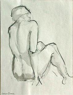 NUDE BACK  Female figurative  Drawings in Ink by SimpleArtStudio