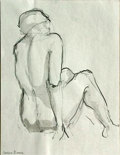 NUDE BACK  Female figurative  Drawings in Ink by SimpleArtStudio