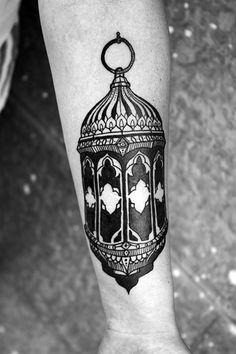 David Hale lantern tattoo. Love the blackwork.