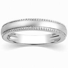 Super Sale - Milgrain Plain Platinum Wedding Band for Women Ring Size 11 JL PT 310-A