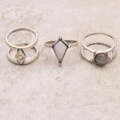 Vintage silver opal stone finger ring set for women girl nice gift
