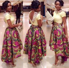 Highlow Hem Ankara Maxi Skirt by Africandressshop on Etsy