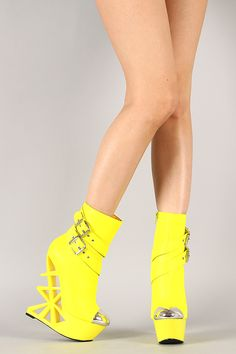 Privileged Stuntin Neon Buckle Cut Out Wedge Bootie Wedge Boots, Wedge Heels, High Heels, Shoes Heels, Walking In Heels, Winter Boots, Peep Toe, Wedges, Booty