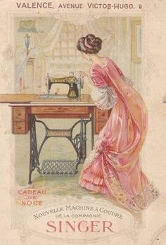 Singer treadle machine French advert, would love this printed out on the wall of my sewing room in my dream house! I'll agree with you there Jules, love the print - a sewing room rather than a trail through the house would be just great. Vintage Abbildungen, Images Vintage, Vintage Crafts, Vintage Ephemera, Vintage Pictures, Vintage Postcards, Vintage Buttons, Art Pictures, Vintage Style