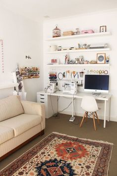20 Pretty Sewing Room Ideas for An Inspiring Sewing Space 13 Get All Ideas About Home Sewing Room Design, Craft Room Design, Sewing Studio, Small Sewing Space, Sewing Spaces, Small Spaces, Ikea Sewing Rooms, Work Spaces, Guest Room Office
