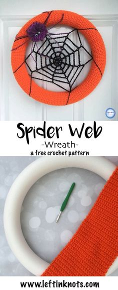 This week I am taking a break from cozy fall wearables to bring you this adorable, fast and simple Halloween decoration!  This crocheted spider web wreath will work up in no time to add to your door before trick-or-treat time. Visit my blog for the free c