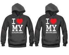 I Love My Boyfriend - I Love My Girlfriend Unisex Couple Matching Hoodies