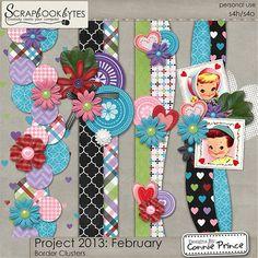 Project 2013: February - Border Clusters :: Kit Element Bits :: Kits & Bits :: SCRAPBOOK-BYTES