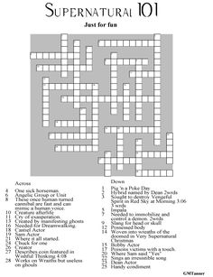 Supernatural Crossword Puzzle click to go to web page to get a printable file and Key