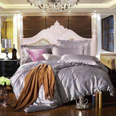 light grey 4pcs bedding sets jacquard bed sets full king size bed sheets slippery duvet cover