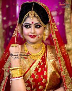 How Sell Gold Jewelry Bengali Bridal Makeup, Bengali Wedding, Bengali Bride, Hindu Bride, Bridal Makeup Looks, Bridal Beauty, Saree Wedding, Indian Bridal Photos, Indian Bridal Sarees