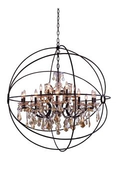 The Elegant Lighting 1130G43DB-GT/RC Pendants Geneva 11-light Dark Bronze  is one the more popular examples of modern lighting, thanks to its distinct appearance.  It gives off a feel of modernity that you won't find anywhere else. Call 888-752-5448 and Get the Lowest Price in the Market.