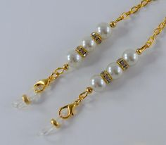 Composed of crystals and pearls Eyeglass Chain Eyeglass