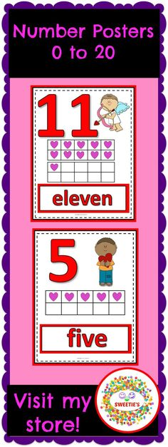 Brighten up your classroom with these number posters!   Numbers 0 to 20   - The Number - Ten Frame - Number Word  Use these for your math center or number wall!    #teacherspayteachers #valentinesday #countto20