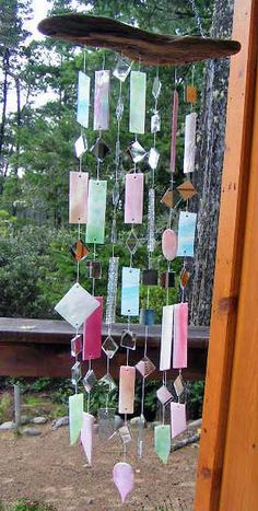 Beautiful stained glass with mirrors windchime