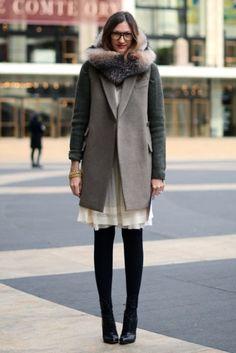 Jenna Lyons street style, cotton summer dress with black tights and black pumps, winter outfit, wool coat Fashion Mode, Moda Fashion, Fashion News, Womens Fashion, Style Fashion, Net Fashion, Fashion Tag, Fashion Editor, Fashion Trends