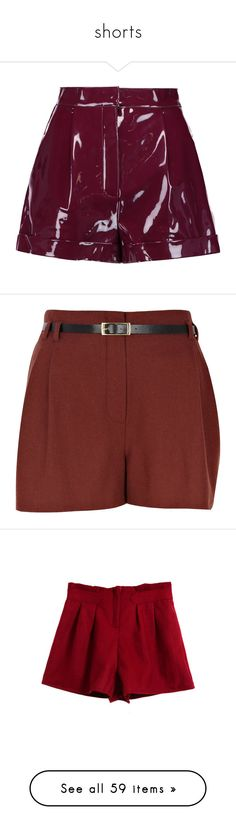 """""""shorts"""" by thinvein on Polyvore featuring shorts, bottoms, skirts, short, pants, plum, high-waisted shorts, pleated shorts, slim shorts and high waisted pleated shorts"""