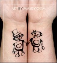 10 Awesome and Romantic Couples' Tattoos my favorite is the robots. (Milly and Lewis' tattoos) Couple Tattoos, Love Tattoos, Beautiful Tattoos, Body Art Tattoos, New Tattoos, Tatoos, White Tattoos, Paar Tattoos, Bild Tattoos