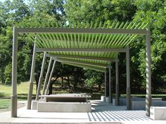 Nestled in the shelter of a grove of mature pecan trees, the complex geometry of this picnic shelter provides the small structure with a sense of dynamic animation. The design consists of a series of steel structural frames, arranged in a geometric progression across the site, and a series of...