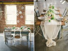 Neutral Wedding Inspiration | Patina Farm table and Mix & Match Chairs | photo by Kate Ignatowski via Green Wedding Shoes