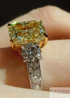 This is a lovely Fancy Yellow Cushion Cut diamond ring. Cushion Cut Diamond Ring, Cushion Cut Diamonds, Diamond Cuts, Yellow Diamonds, Pink Sapphire, Bling Jewelry, Diamond Jewelry, Jewelry Rings, Diamond Rings