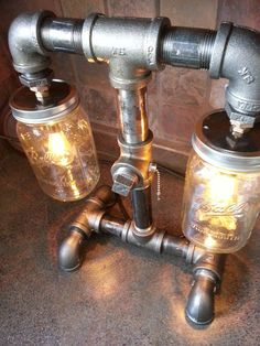 SteamPunk Style Black Iron Pipe Lamp mason jar bar by flamemetals, $185.00