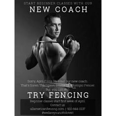 Start beginner classes with our NEW COACH! Just kidding April Fools. That's Soren Thompson 2 time Olympic Fencer. But you can still TRY FENCING. New beginner classes start first week of April. Classes for ages 7-12 teens and adults. http://aafa.me/14RmVhu #wedareyounottoloveit #weallplayswords http://aafa.me/25ArYEb