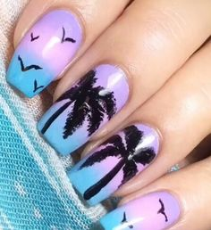 Purple blue ombre palm trees Florida California beach nails