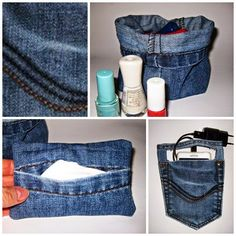Handyladestation, Tatüta und Utensilo aus Jeans / Several organizers made from pair of jeans / Upcycling