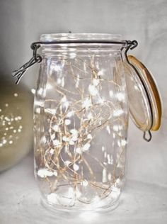 Fairy lights in mason jar or candles in them for table decor? Fairy lights in mason jar or candles in them for table decor? Fairy Lights In A Jar, Jar Lights, Led String Lights, Twinkle Lights, Starry Lights, Light String, Battery Lights, Room Lights, Night Lights