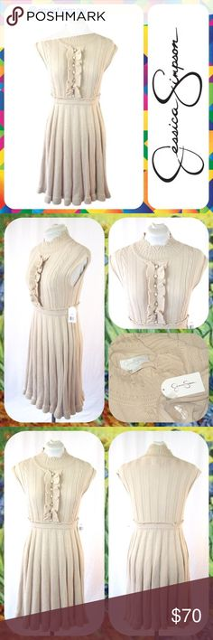 """JESSICA SIMPSON Tan Knit Sleeveless Sweater Dress Brand New with Tags! Retail: $128.  Perfect for Fall! Ultra soft tan sleeveless sweater dress from Jessica Simpson with mock turtleneck and ruffle detail in the front! Cable knit with pleated skirt. Made of acrylic; machine washable. Knee length. Size Small (S) for ladies wearing size 4/6. Measures 17"""" across the chest and 36"""" in length. Stretches throughout.     Bundle 2 or More Items to Save 15% Off Automatically!  Jessica Simpson Dresses…"""