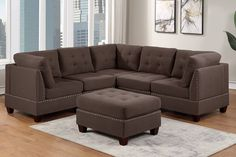 """Poundex F903 6 pc Latitude run mckenny II black coffee linen like fabric tufted modular sectional sofa set. This set features a grey linen like fabric upholstery with wood frame and inner spring seating. This set includes 3 - corner seats , 2 - armless chairs and 1 - ottomans. Additional pieces also available separately. This set as shown measures 90"""" x 90"""" x 32"""" x 35"""" H. Corners measure 32"""" x 32"""" x 35"""" H. Armless chairs measure 26"""" x 32"""" x..."""