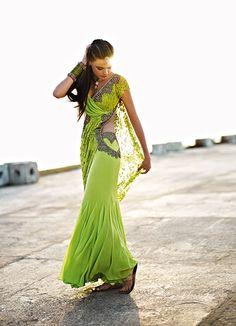 Monisha Jaising lime green sari