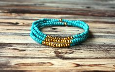 Natural Turquoise and Gold Dipped Natural Pyrite Bracelets