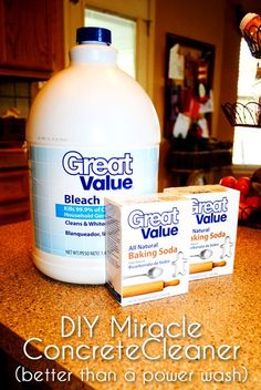 DIY Miracle Concrete Patio Cleaner from: i should be mopping the floor. Gonna give this a go on the front porch  Driveway need to have this