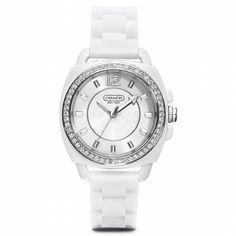 Coach :: BOYFRIEND CRYSTAL STAINLESS STEEL RUBBER STRAP WATCH
