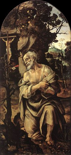 St Jerome by Filippino Lippi, Oil on panel