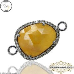 Yellow Sapphire Gemstone Connector Finding, 925 Sterling Silver Diamond Pave Gem