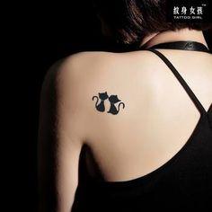 Sweet Kissing Cat Pattern Waterproof Tattoo Sticker For Women - Tattoo World Black Cat Tattoos, Mini Tattoos, Animal Tattoos, Love Tattoos, Body Art Tattoos, Small Tattoos, Cat Tattoo Designs, Temporary Tattoo Designs, Tattoo Designs For Women