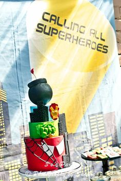 Superhero Avengers Super Hero Birthday Party Cake via Kara's Party Ideas - www.KarasPartyIdeas.com