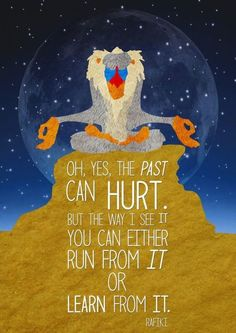 """""""Ah, yes, the past can hurt. But the way I see it, you can either run from it…or learn from it."""" ― Rafiki"""