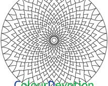 Flower mosaic mandala coloring page, colouring for adults digital download