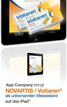 Novartis / Voltaren App: App Company Oberösterreich - die Appagentur aus Linz - bringt Novartis / Voltaren - als unbemannten Messestand - auf das iPad®