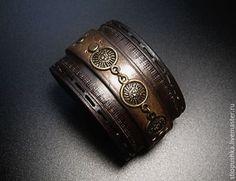 Купить Браслет из кожи с бронзой - коричневый, браслет, купить браслет, браслет кожаный купить