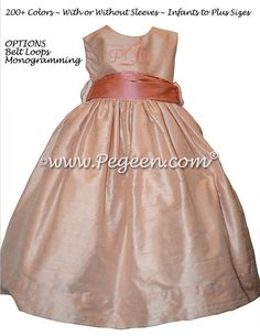 15d91649c3e Monogrammed Toddler Flower Girl Dress with Coral Monogram and Peach Silk